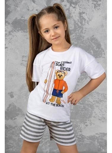 Katia & Bony Surf Yapan Ayı Baskılı şortlu Kız Çocuk Pijama Takımı - Beyaz Beyaz